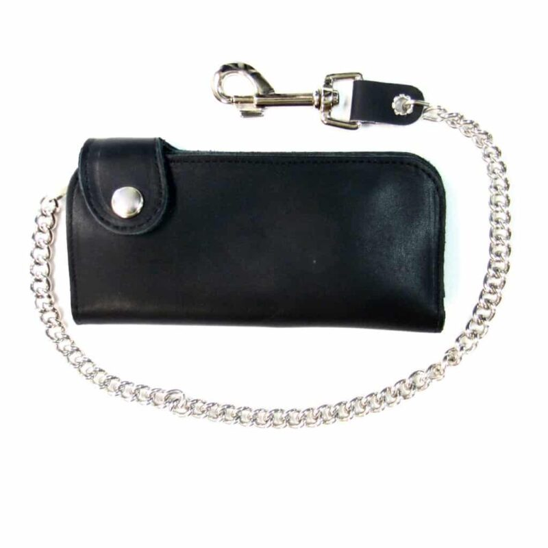 BI-FOLD BIKER SIDE SNAP BLACK LEATHER WALLET W/ CHAIN 1