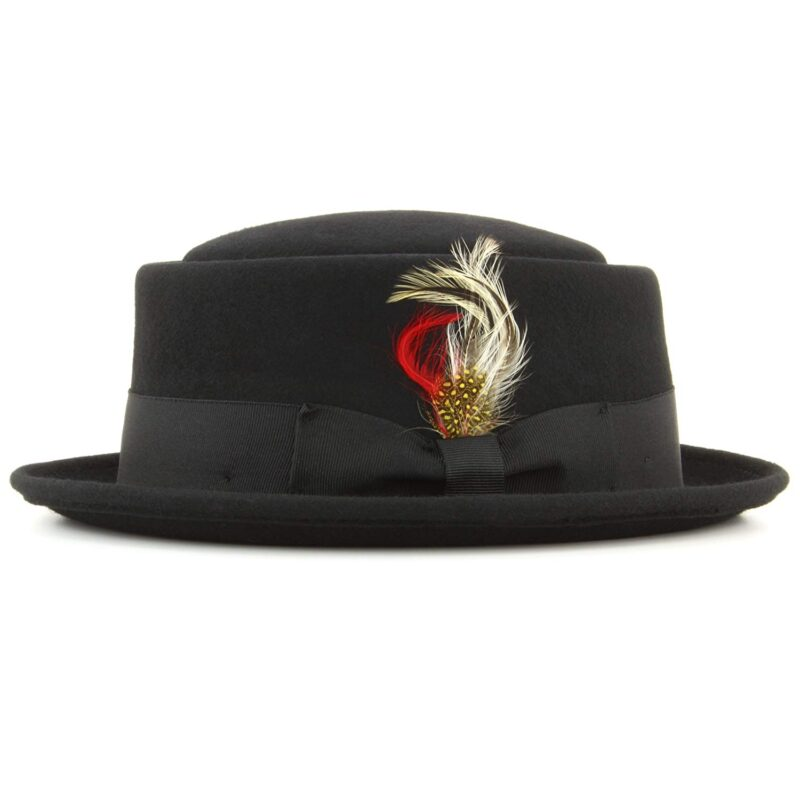 Wool Felt Black Pork Pie Fedora 1