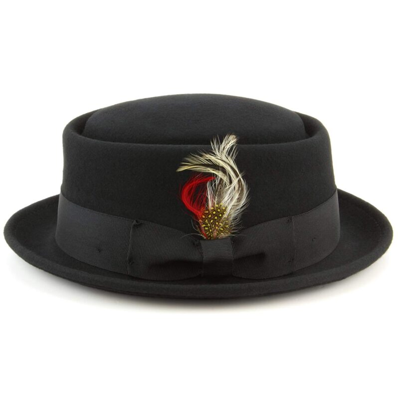 Wool Felt Black Pork Pie Fedora 3