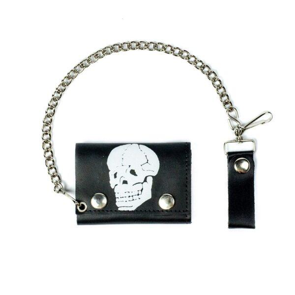 Bonehead Skull Tri-Fold Biker Wallet