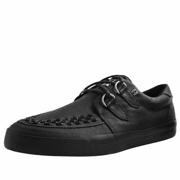 TUK Black Wax Canvas Sneaker Creeper A9363