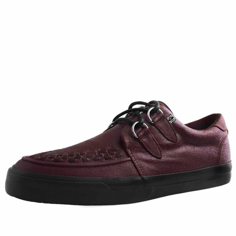 TUK Burgundy Wax Canvas Sneaker Creeper A9364