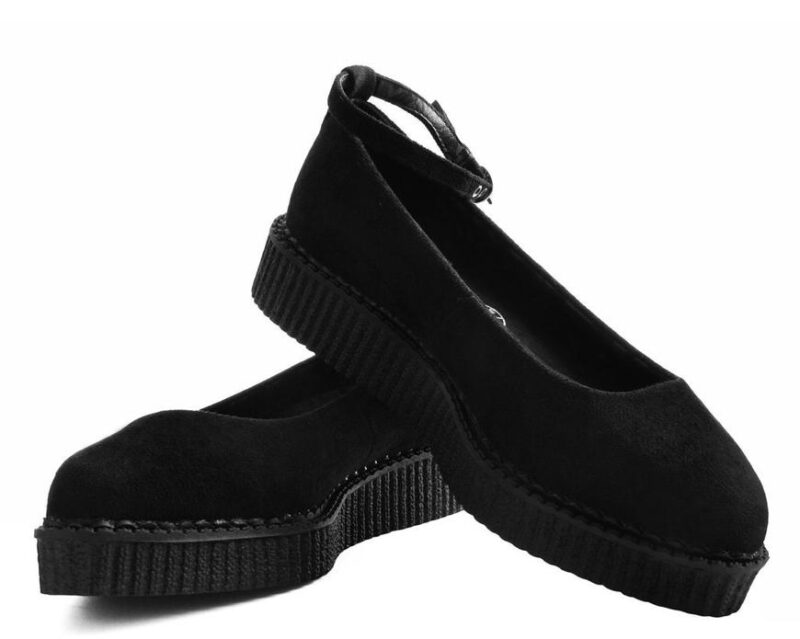 TUK Black Pointed Ballet Creeper Ankle Strap A9416 1
