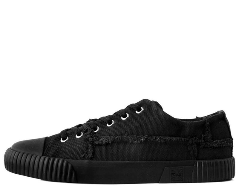 TUK Black Canvas Low Top Sneaker A9589 2