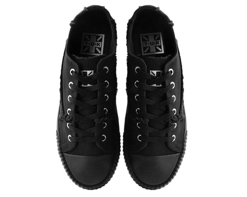 TUK Black Canvas Low Top Sneaker A9589 3