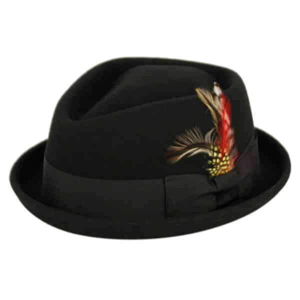 Wool Felt Black Pork Pie Fedora