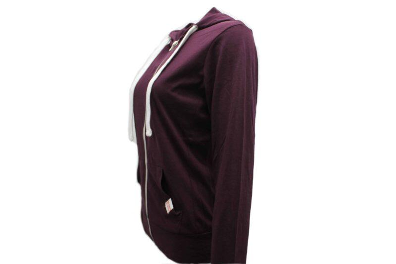 Women's Burgundy Full Zip Hoodie 1