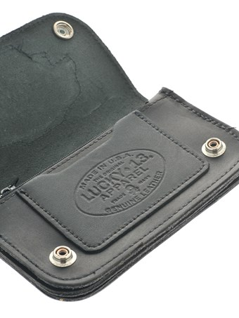 "Lucky 13 Wallet Rat Rod 6"" Bi-Fold w/Chain 1"
