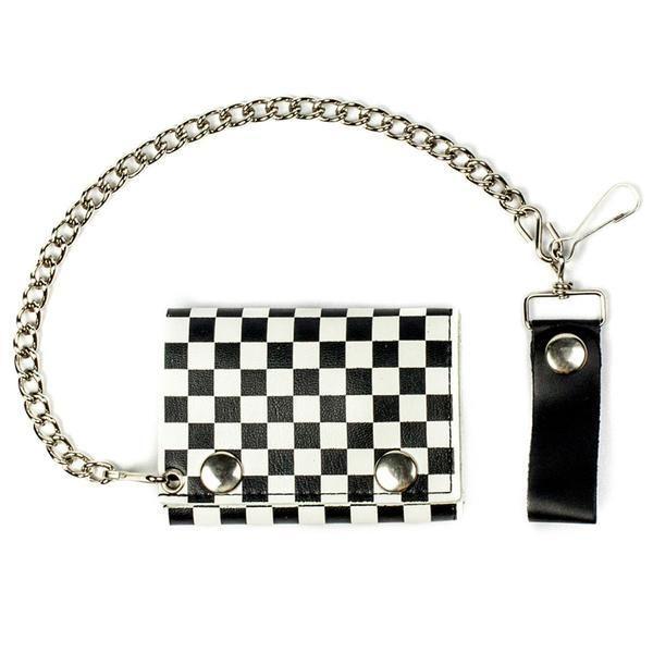 Checkered Tri-Fold Biker Wallet