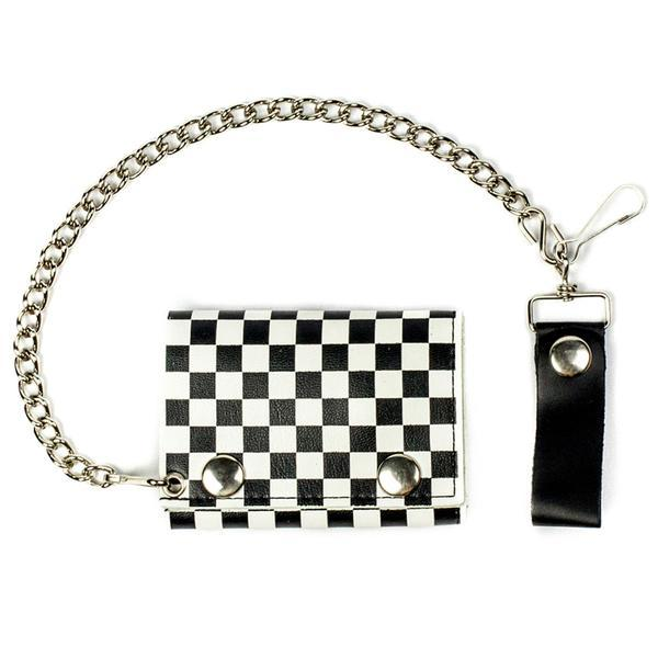 TRI-FOLD BIKER LEATHER WALLET W/ CHAIN BLACK AND WHITE CHECKERED 1