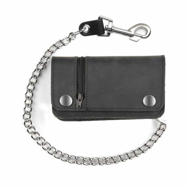 Side Zipper Leather Wallet