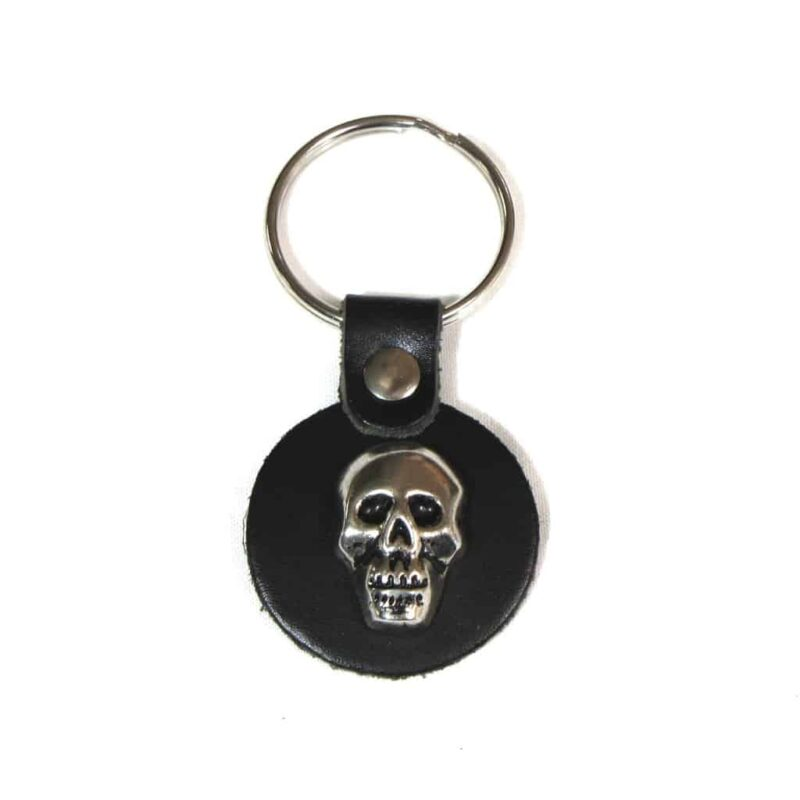 Round Leather Key Fob with Skull