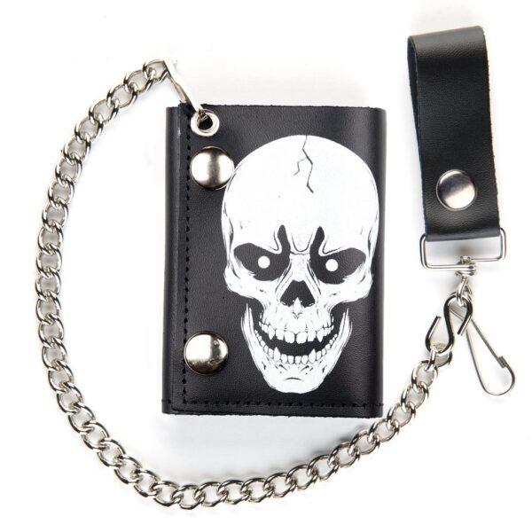 White Skull Tri-Fold Biker Wallet