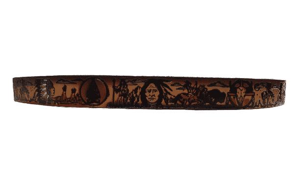 "Native American Embossed Dark Brown Full Grain Leather Belt 1-1/2"" 2"