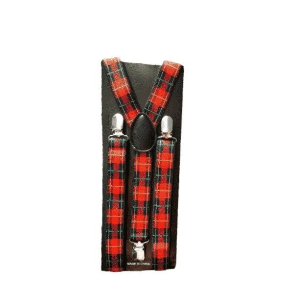 Red and Blue Plaid Skinny Suspenders
