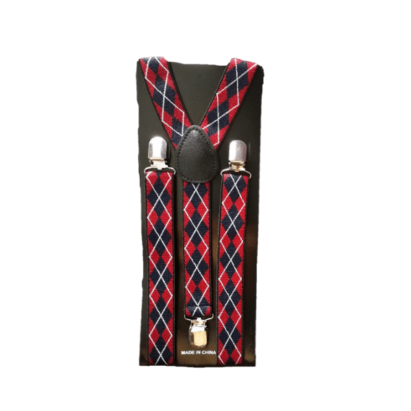 Red and Navy Blue Argyle Skinny Suspenders
