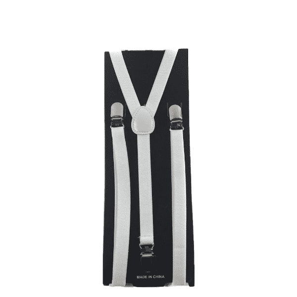 White Skinny Suspenders