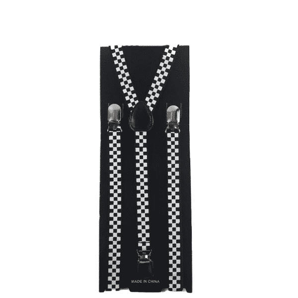 Black and White Checkered Skinny Suspenders