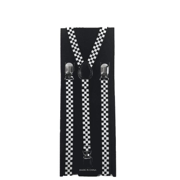 Black and White Checkered Skinny Suspenders