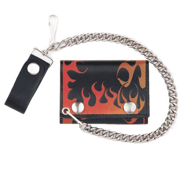 TRI-FOLD BIKER LEATHER WALLET W/ CHAIN RED FLAME 1