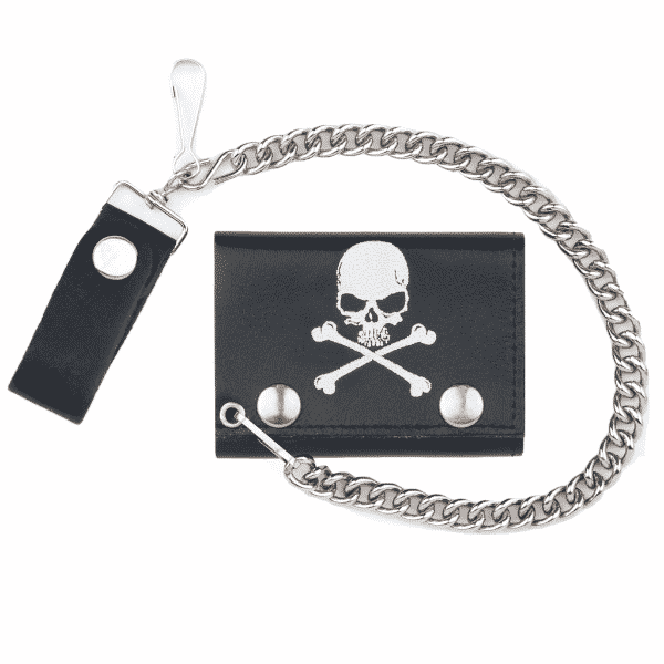 Skull Crossbones Biker Wallet w/ Chain