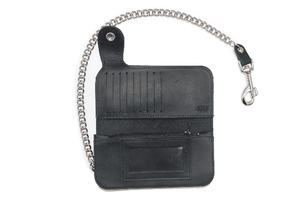 BI-FOLD BIKER SIDE SNAP BLACK LEATHER WALLET W/ CHAIN 2