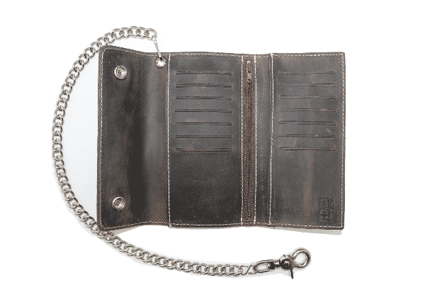 LARGE TRI-FOLD BIKER DARK BROWN DISTRESSED LEATHER W/ CHAIN 2