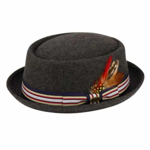 Wool Felt Charcoal Pork Pie Fedora