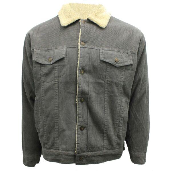 Gray Corduroy Sherpa Jacket
