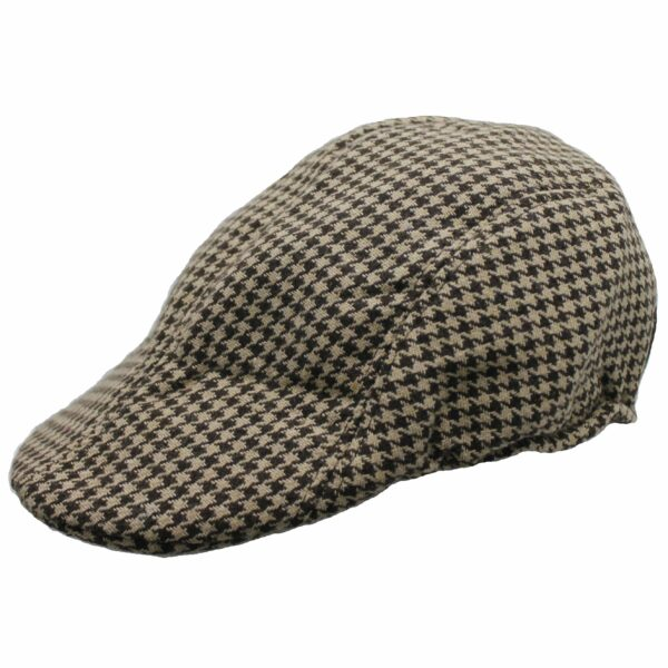 Beige and Brown Houndstooth Ivy Hat