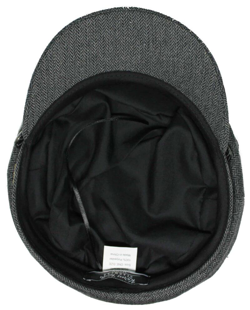 Cotton Charcoal Herringbone Greek Fisherman Hat 1