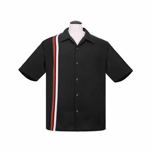 V8 Black Bowling Shirt by Steady Clothing