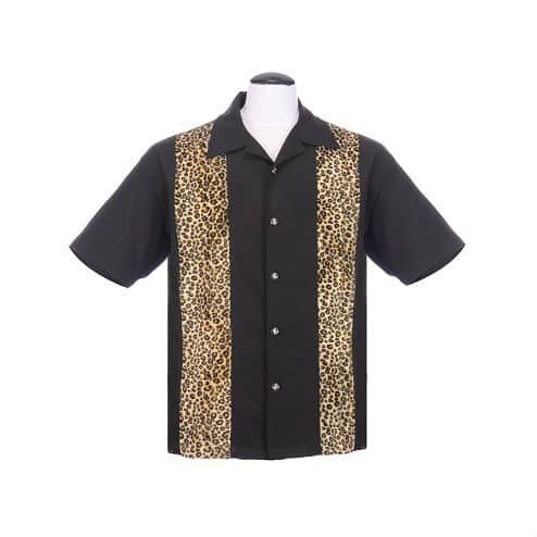Leopard Black Bowling Shirt
