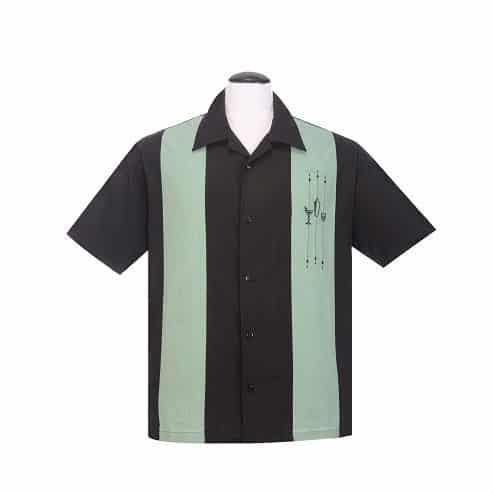 Black Mint Martini Bowling Shirt
