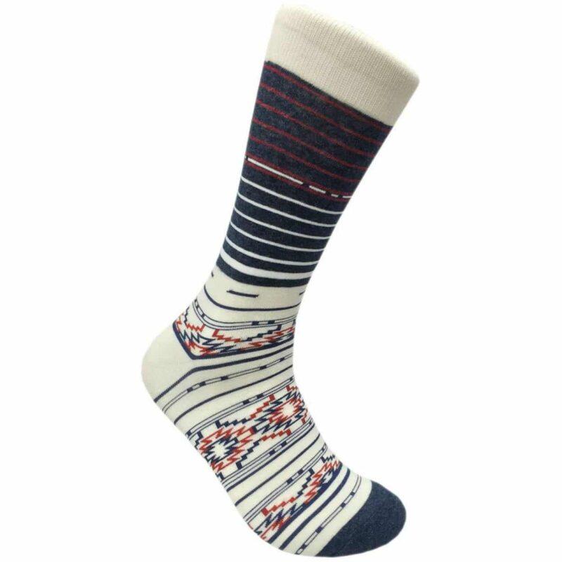 White Stripe Aztec Pattern Crew Socks