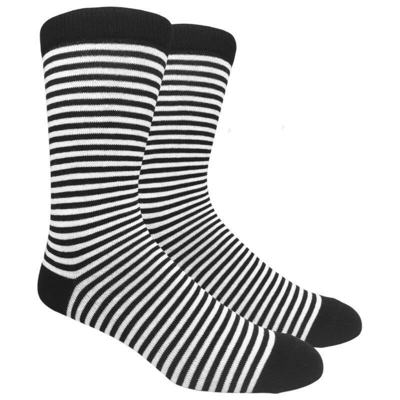 Black and White Striped Crew Socks