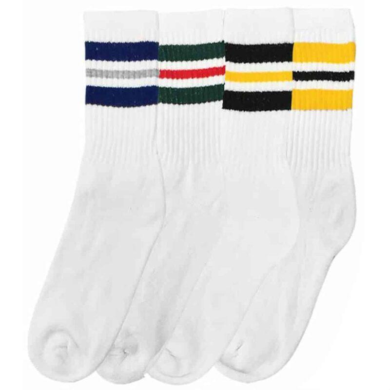 Striped White Tube Socks