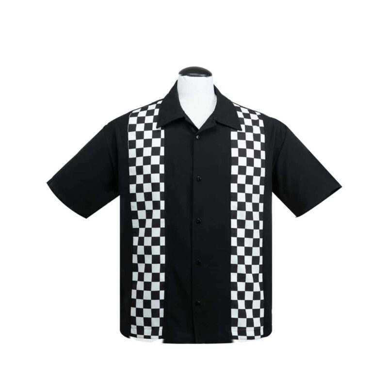 Checkered Panels Bowling Shirt by Steady Clothing