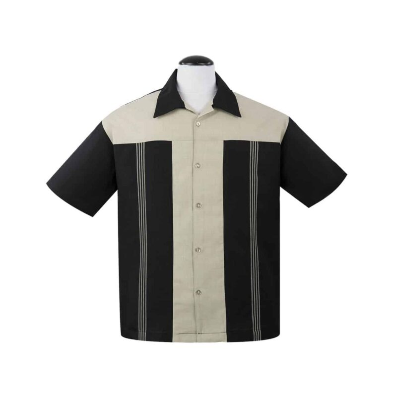 Black Oswald Bowling Shirt by Steady Clothing