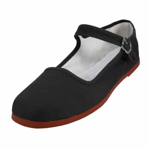 Black Cotton Mary Janes Shoe