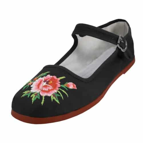 Embroidered Flower Black Cotton Mary Jane Shoes