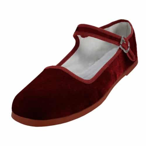 Burgundy Velvet Mary Jane Shoes