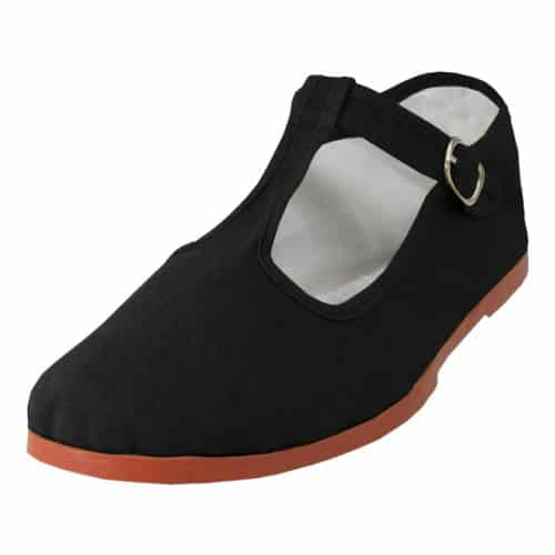 Black Cotton T-Strap Mary Jane Shoes