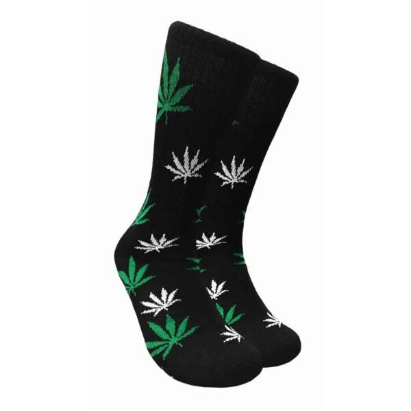 Green and White Marijuana leaf Crew Socks