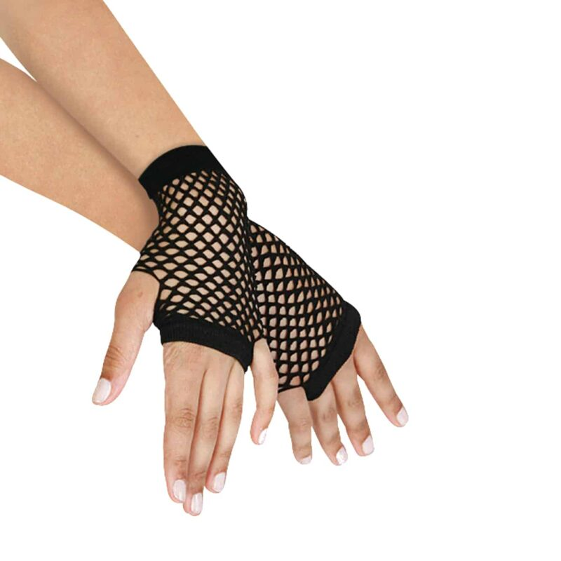 Short Fingerless Fishnet Gloves