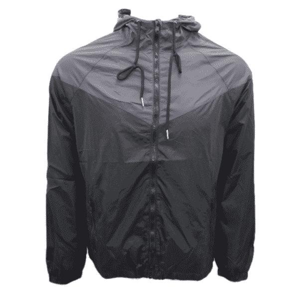 Black Gray Hooded Windbreaker Jacket