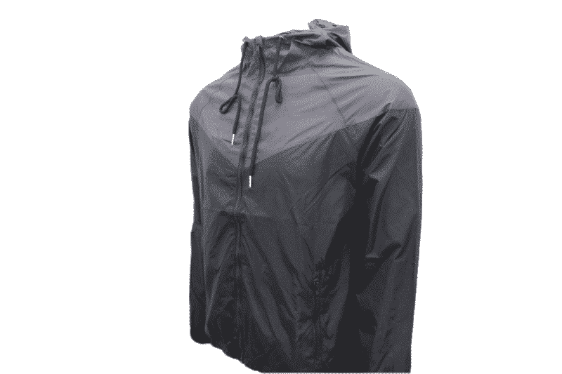Black Gray Hooded Windbreaker Jacket 1