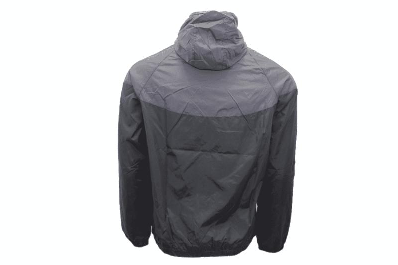 Black Gray Hooded Windbreaker Jacket 2