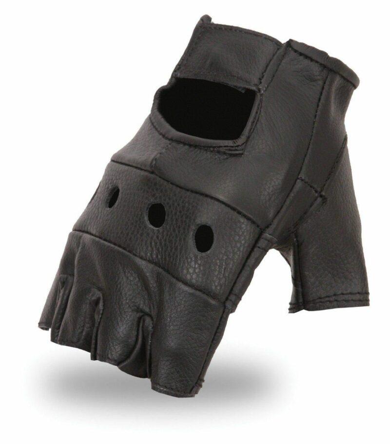 Black Fingerless Biker Gloves 1
