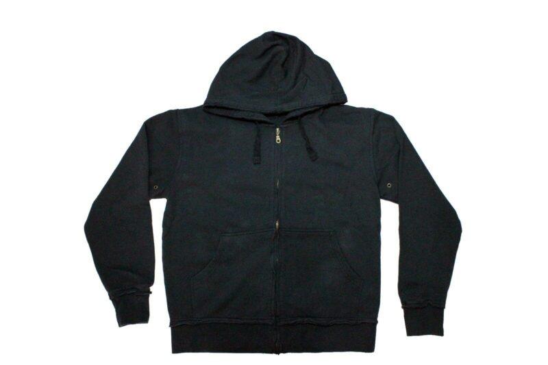 Vintage Black Drawstring Zip Hoodie 2